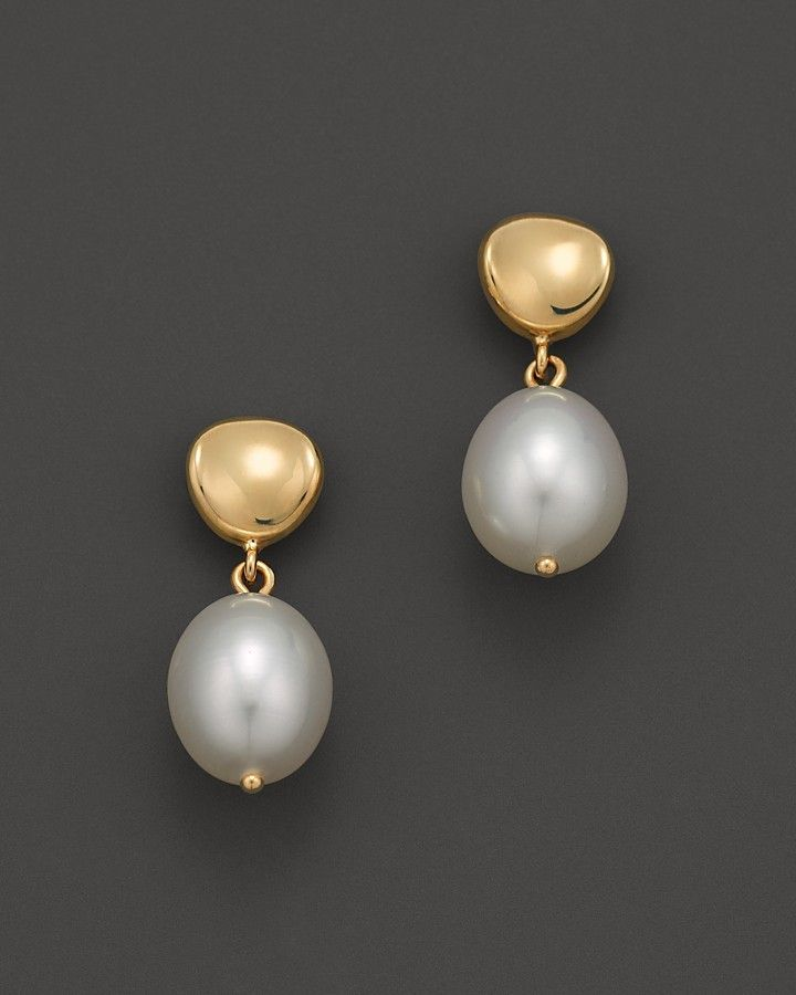 Cultured Freshwater Pearl Drop Earrings in 14K Yellow Gold, 8mm - $180.00