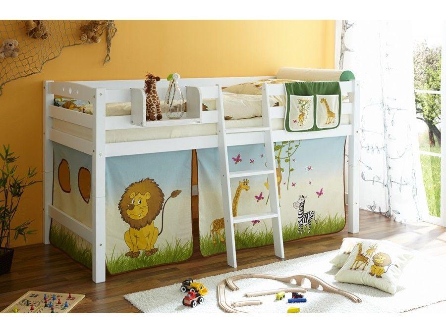 Cameretta bambini letto a soppalco in legno faggio bianco scelta tenda ebay 4kids - Letto soppalco legno ...