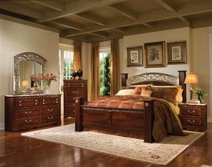 Triomphe Brown Cherry Master Bedroom Set Master Bedrooms - Poster Bedroom Sets