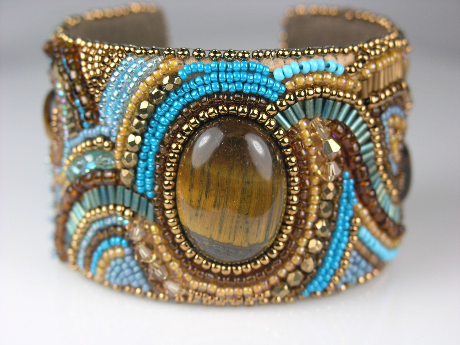 ~~Beaded Bead Embroidered Cuff (Mother Earth) by LiTelle on etsy~~