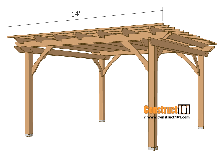 12x12 Pergola Plans Free Pdf Download Construct101 Outdoor Pergola Pergola Plans Diy Pergola Plans