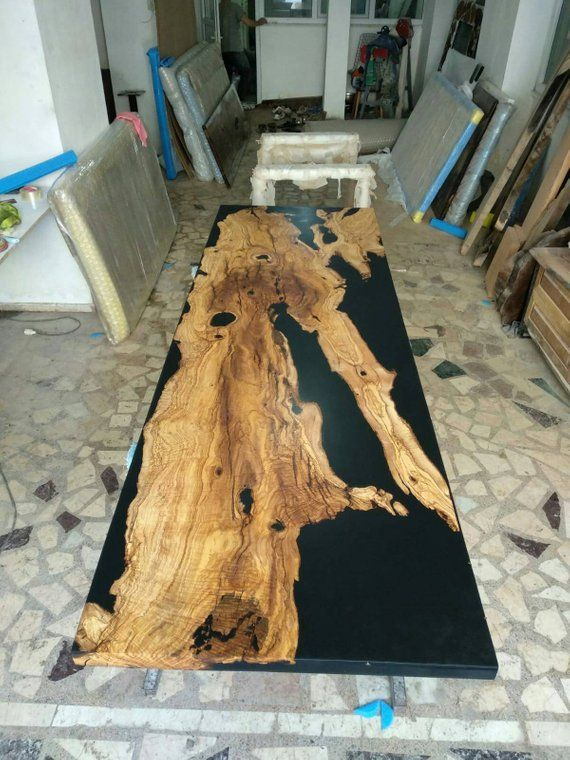 Black Epoxy Wood Table