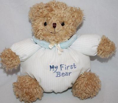 77b2c625878 Little Me My First Bear 1st Teddy Blue Stripe Tan Plush Lovey Baby Rattle  Toy 7
