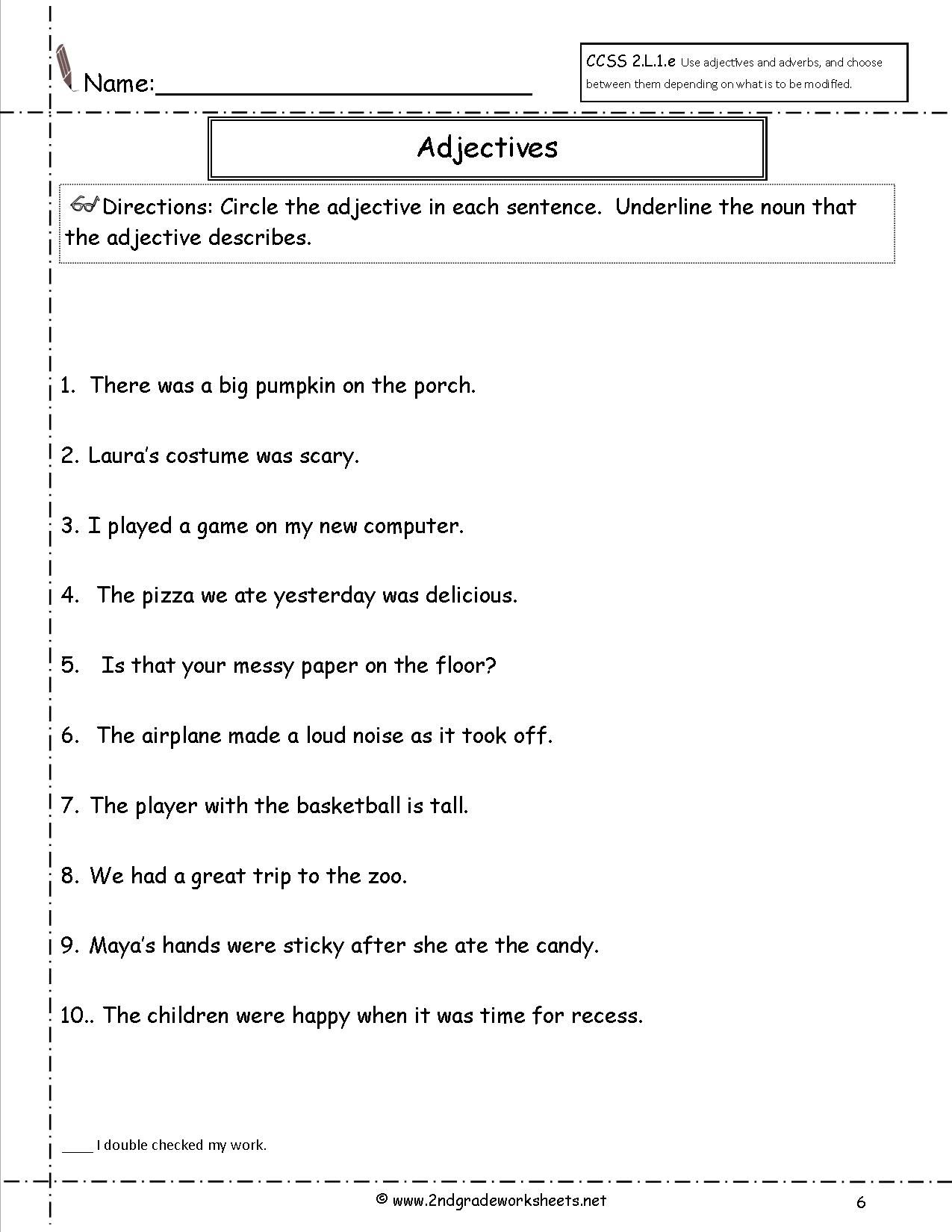 Adjectives Worksheet Year 2