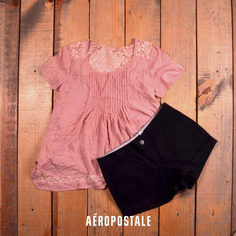 Short + blusa | Look ideal de verano #short #spring #girly #look #ootd #outfit #black #pink #aeropostalemx