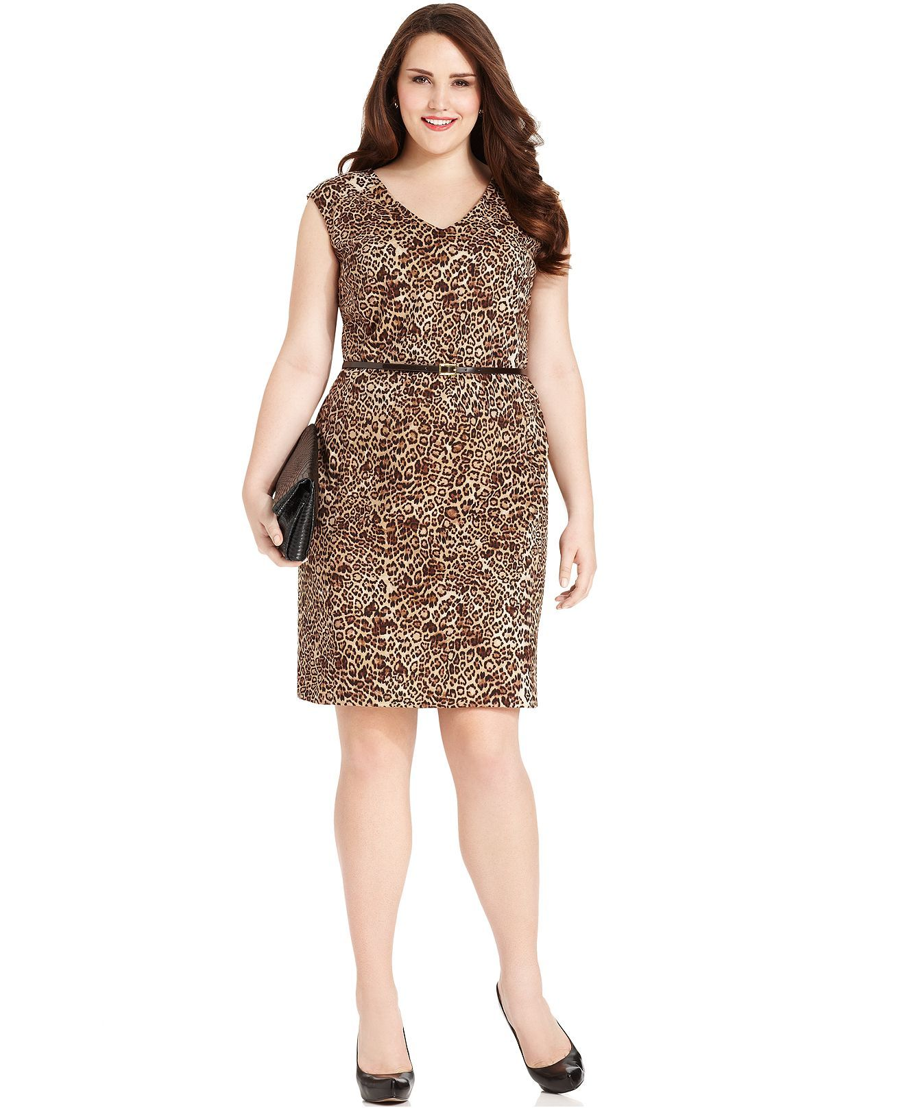 Jones New York Plus Size Dress, Sleeveless Animal-Print Belted ...