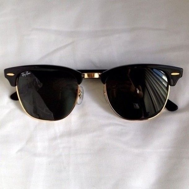 sunglasses black gold summer outfits fashion rim rayban