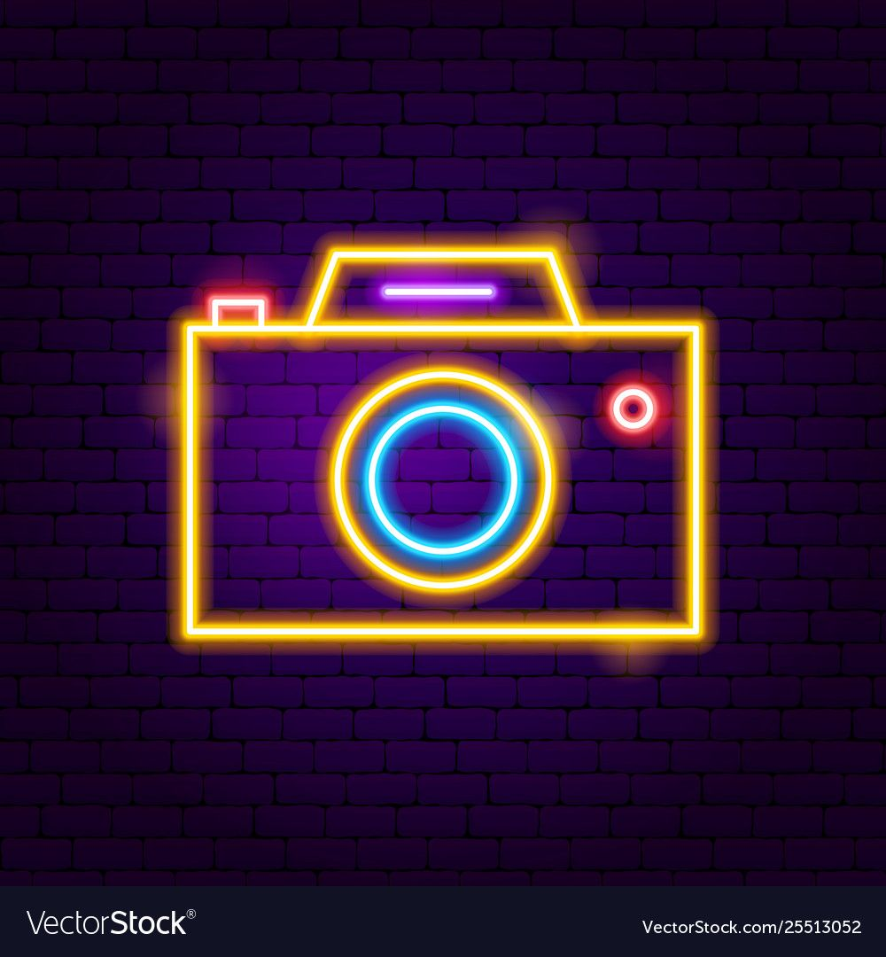 Photo camera neon label vector image on VectorStock in