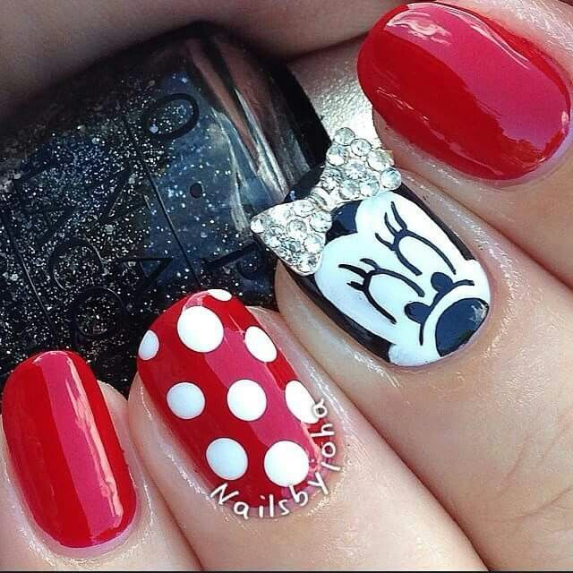 Minnie Mouse themed nails | Nails | Pinterest | Arte en tus uñas ...