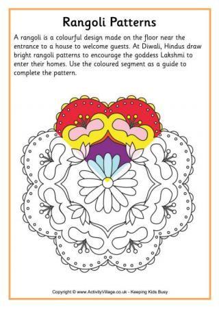 Rangoli Colouring Pattern 3 Rangoli Patterns India Crafts