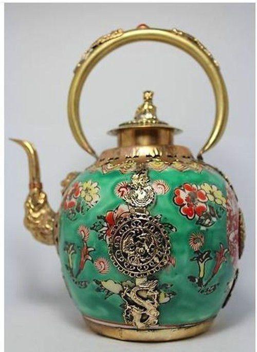 Chinese Handwork Painting Flower Porcelain Tea Pot picclick.com