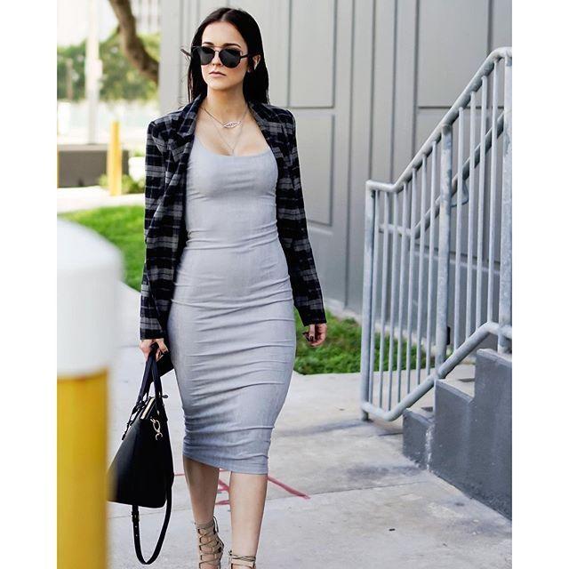 ff4d868fe1c2 Style Link Miami Blogger Style - Jennifer Morejon wearing our Plaid  Asymmetrical Jacket + Grey Suede Bodycon Maxi Dress #styleinthecity  #shopthelook