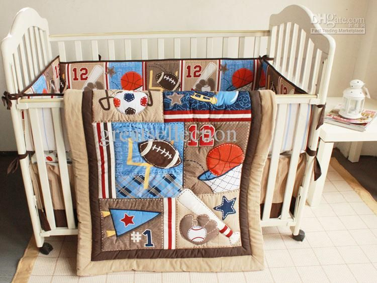 Cheap Baby Crib Bedding Set Cute Sports Pattern Boby Baby Cot Crib Bedding Set Online With 85 84 Dhgate Crib Bedding Boy Baby Boy Bedding Baby Bed