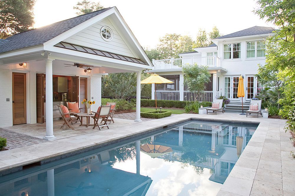 Give The Pool Hous A Small Kitchen And Serving Station To Turn It Into A Cool Hangout Decoist Pool House Designs Small Pool Houses Pool Houses