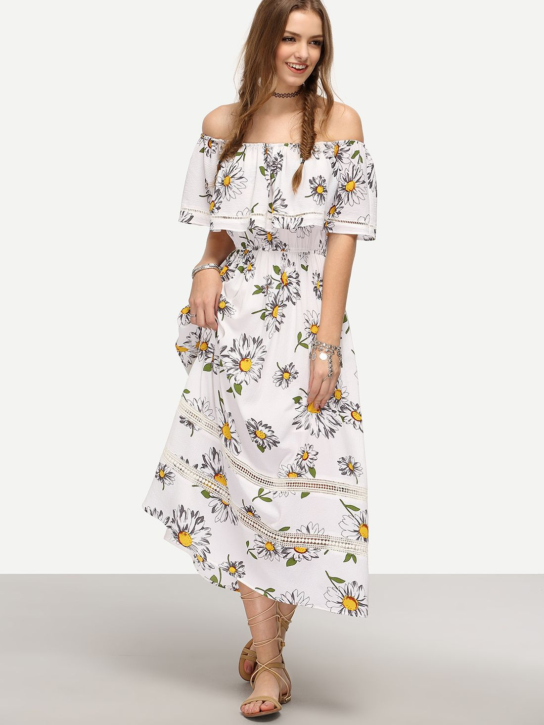 51f796ff3a White Off The Shoulder Flower Print Maxi Dress -SheIn(Sheinside ...