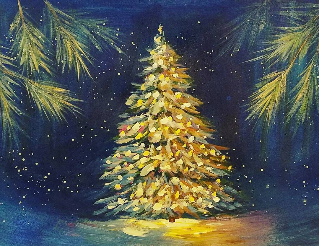 Glowing Christmas Tree Acryliconcanvas Painting Tutorial On Youtube By Angelafineart Christmas Paintings On Canvas Christmas Tree Painting Holiday Painting