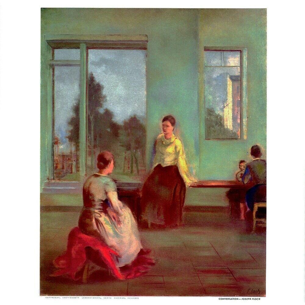 1947 print conversation joseph floch listed artist