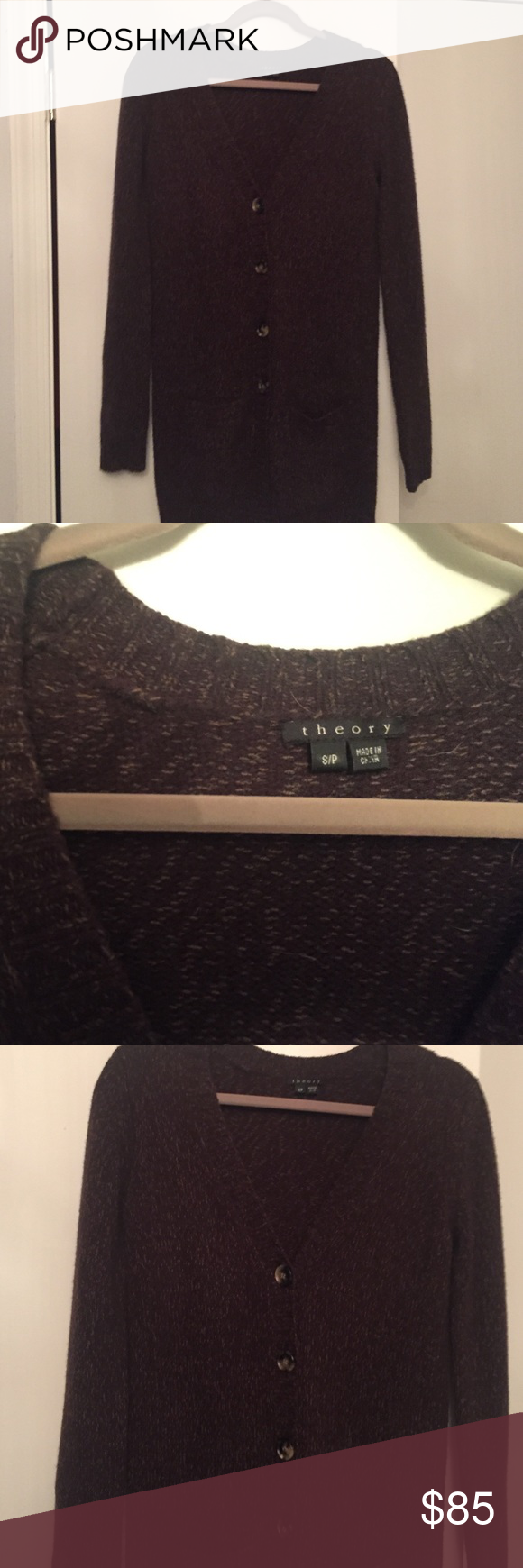 Theory Cashmere sweater Brown 3/4 cashmere wool blend. Soft and ...