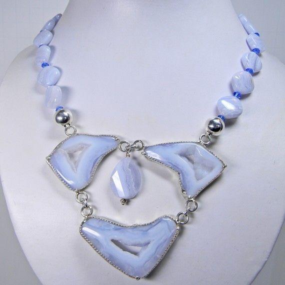 Silver Bar Necklace Druzy Agate Blue Druzy Necklace Silver Statement Necklace Beaded Chain Necklace Druzy Bar Necklace Chunky Necklace