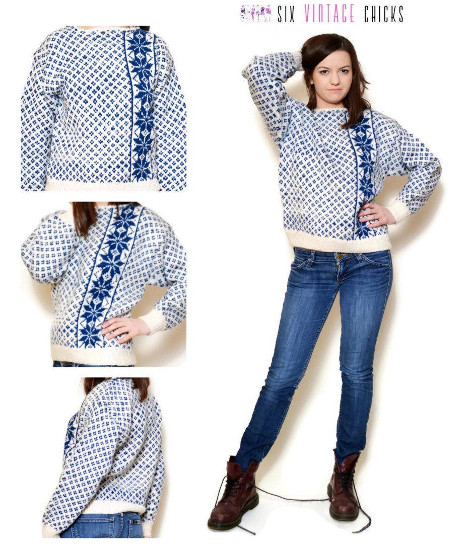 774b4269911c7 Handmade Sweater  90s Pullover  Winter style Blue
