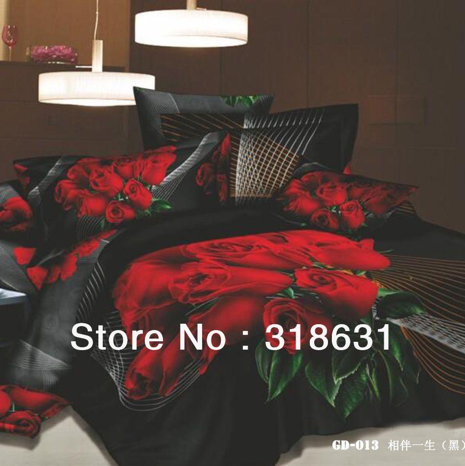 Delightful Bold Red Rose Print Bedspreads   Compare Black Rose Duvet Cover Source  Black Rose Duvet Photo