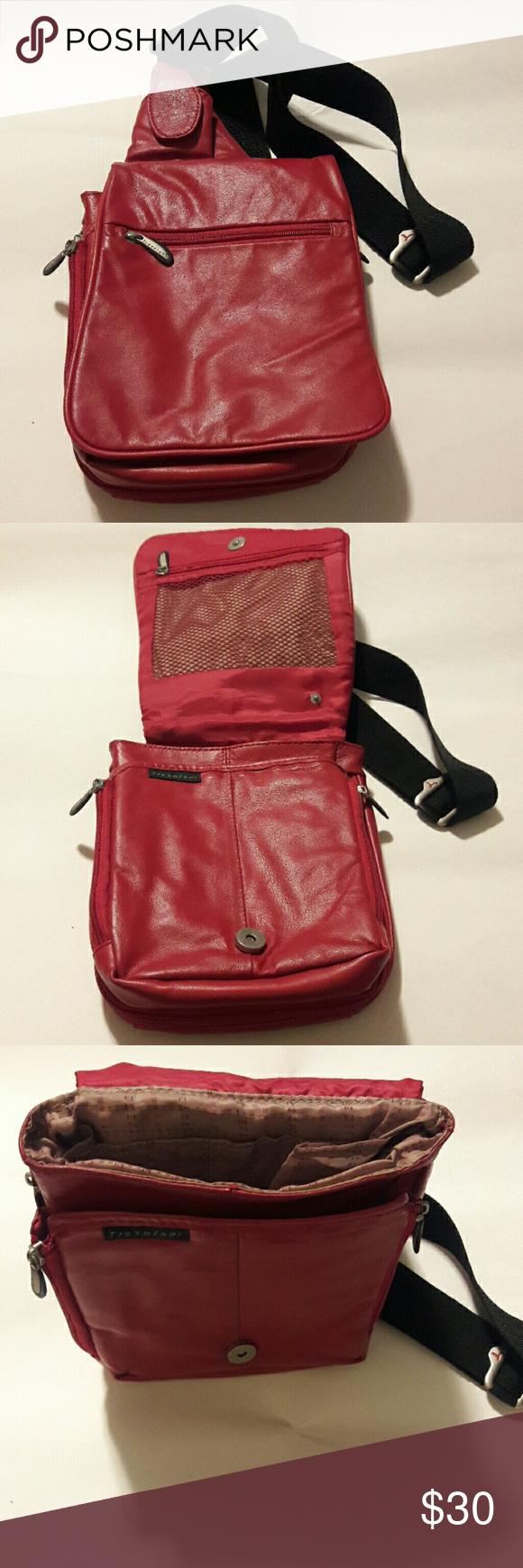 Travelon red expandable leather crossbody bag Excellent preowned condition travelon  Bags Crossbody Bags e042cbb7da