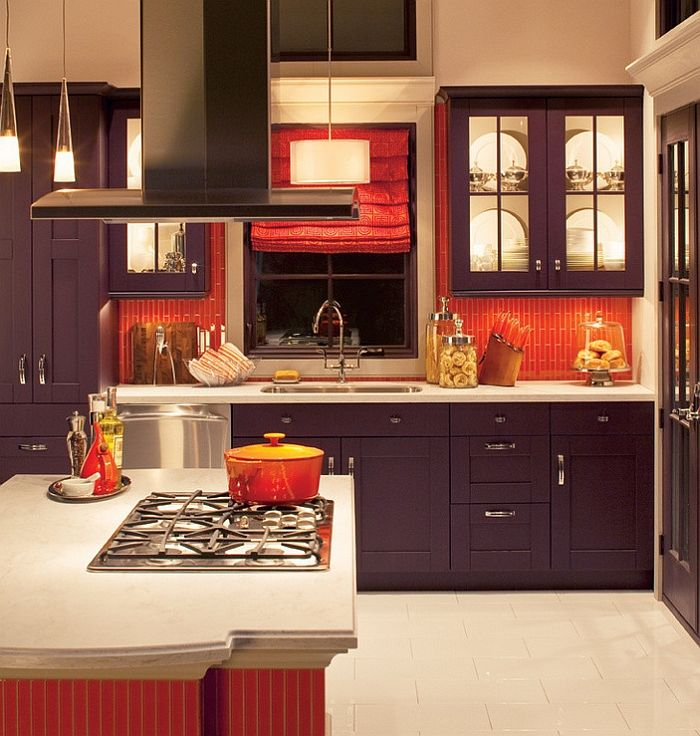Delightful Red Kitchen Backsplash Ideas Part - 10: Orange Subway Tile Makes Up The Backsplash In This Kitchen