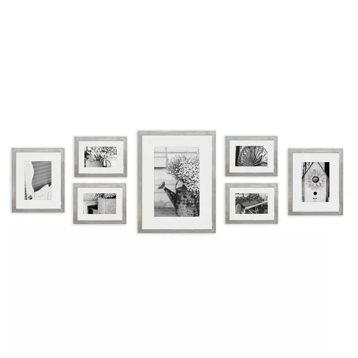 Gallery Perfect 8 X 10 5 X 7 4 X 6 7pc Photo Wall Gallery Kit With Decorative Frame Set Gray T Picture Gallery Wall Photo Wall Gallery Wall Gallery