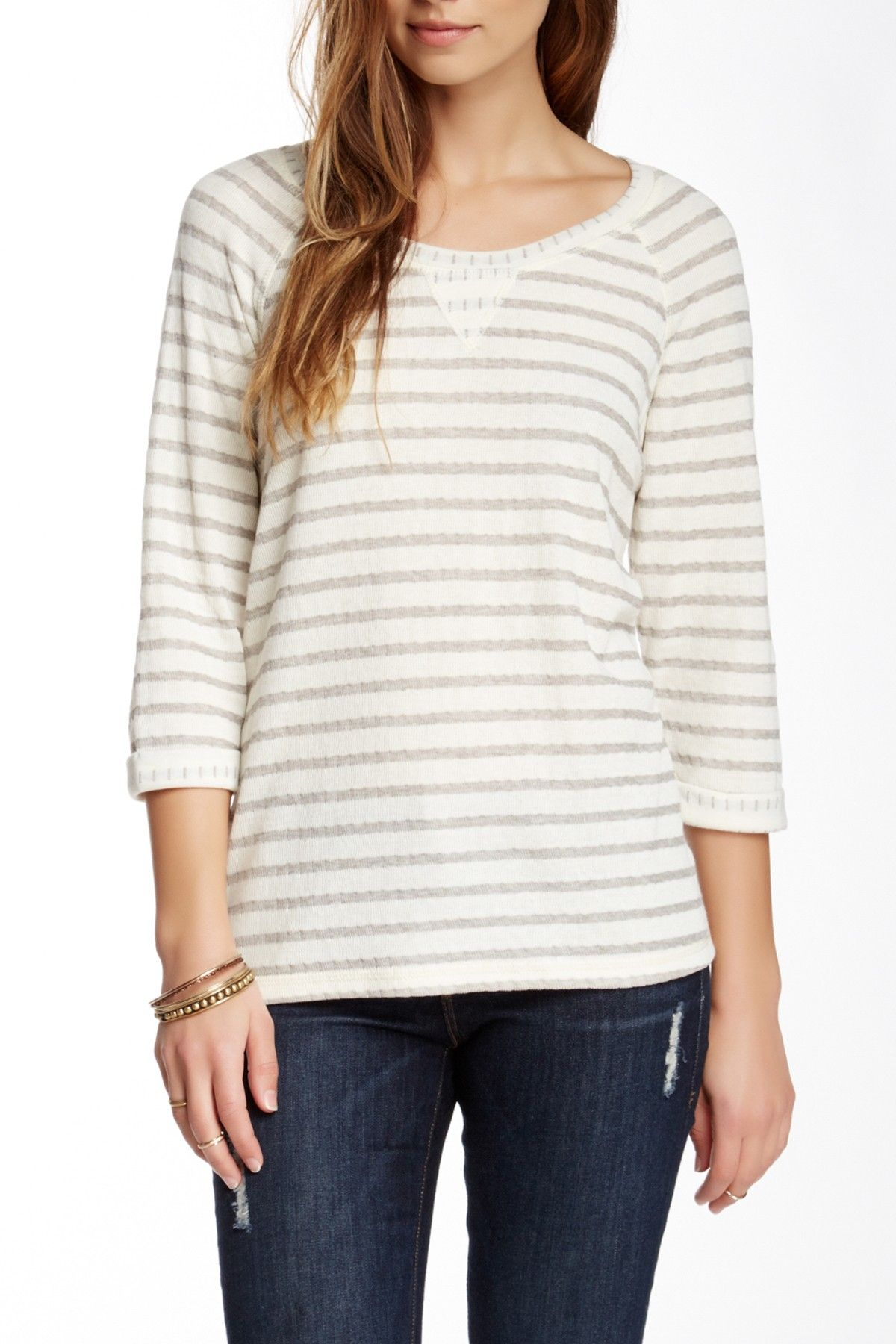Stripe Double Knit Pullover