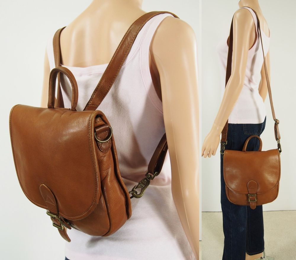 Vtg HOBO INTERNATIONAL Brown Leather BACKPACK CROSSBODY SHOULDER Bag Purse   HoboInternational  BackpackCrossbodyShoulderBag c76eecbc9cb66
