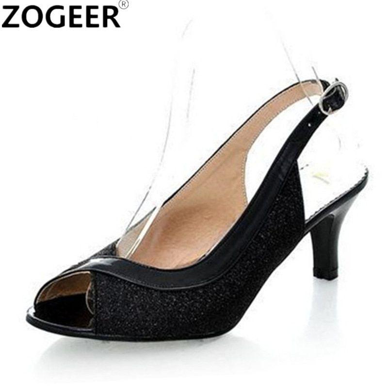 707a494f81d Plus Size 34-45 Hot 2018 Summer Women Sandals Fashion Casual Medium Heels  Flip Flops Open Toe Black Silver Gold Shoes Woman