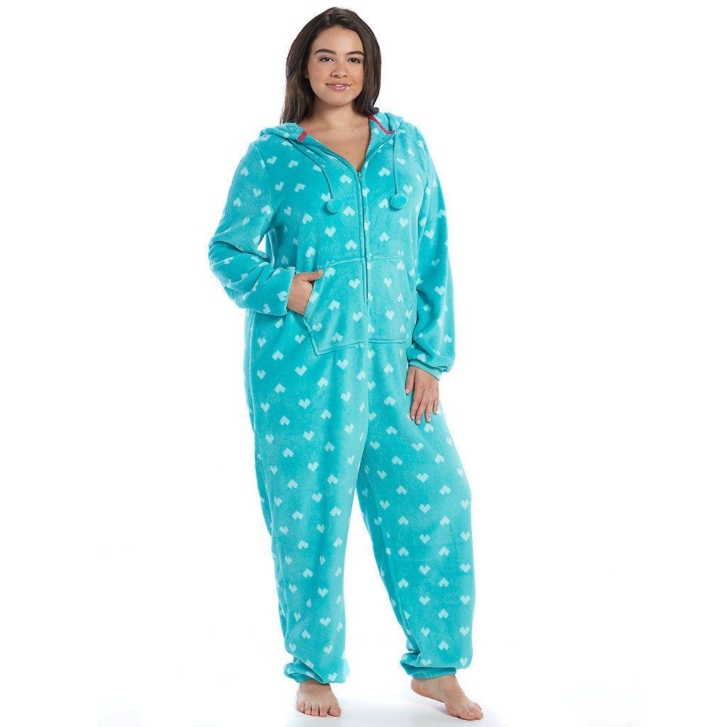 juniors' plus size so® pajamas: plush one-piece pajamashooded