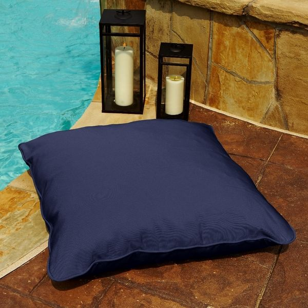 Clara Navy 26 Inch Square Indoor Outdoor Sunbrella Floor Pillow