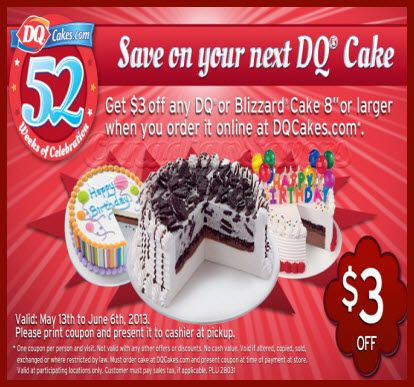 Dairy Queen Coupon 3 Off DQ Or Blizzard Cake