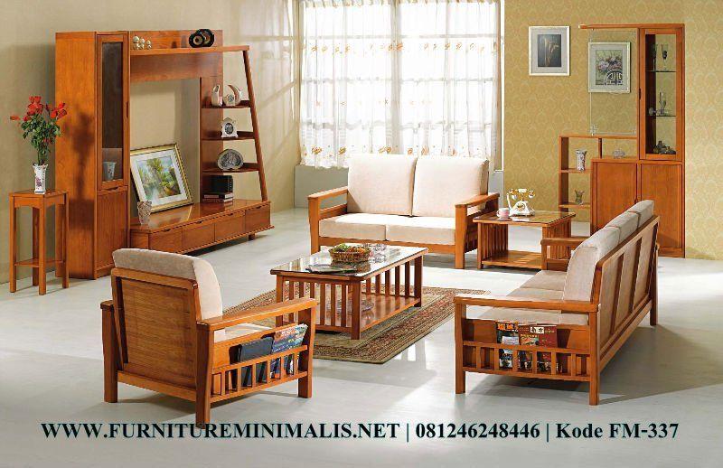 Set Ruang Tamu Modern Kayu Jati Meja Kursi Tamu Minimalis Mewah