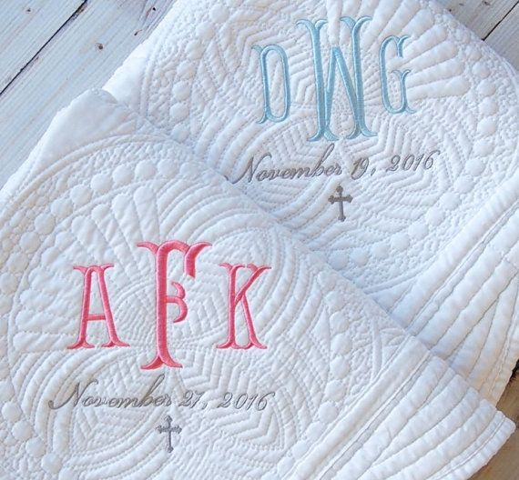 Baptism gift monogram quilt new baby gift personalized baby baptism gift monogram quilt new baby gift personalized negle Gallery