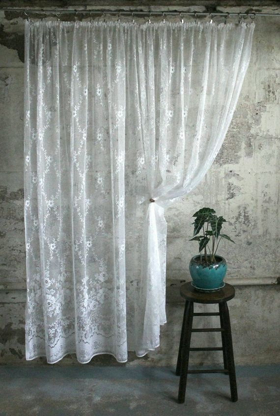Vintage White Lace Curtain / Panel | Tende di pizzo bianco ...