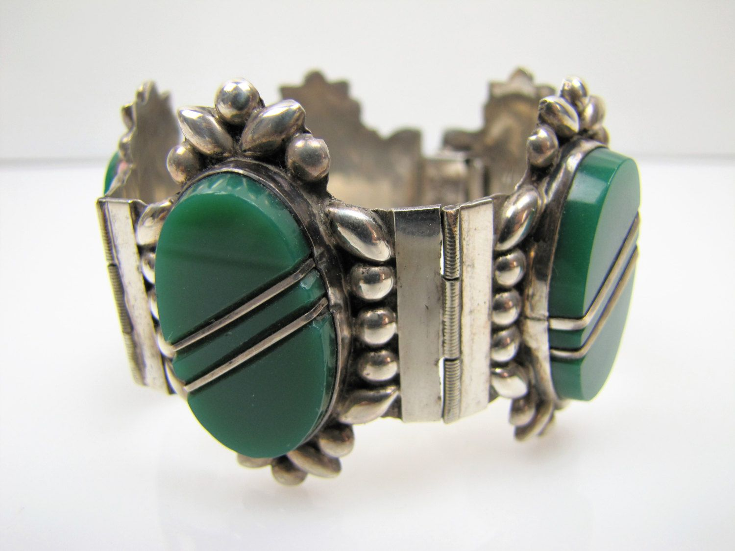 Frederick Davis Mexican Sterling Link Bracelet W/ Small Round Turquoise Stones Vintage Ethnic/regional/tribal Jewelry & Watches