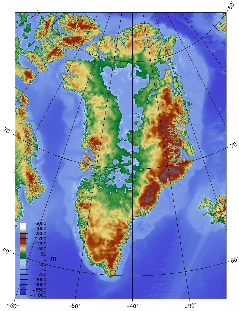 Topographic map of Greenland without its ice sheetas the levels