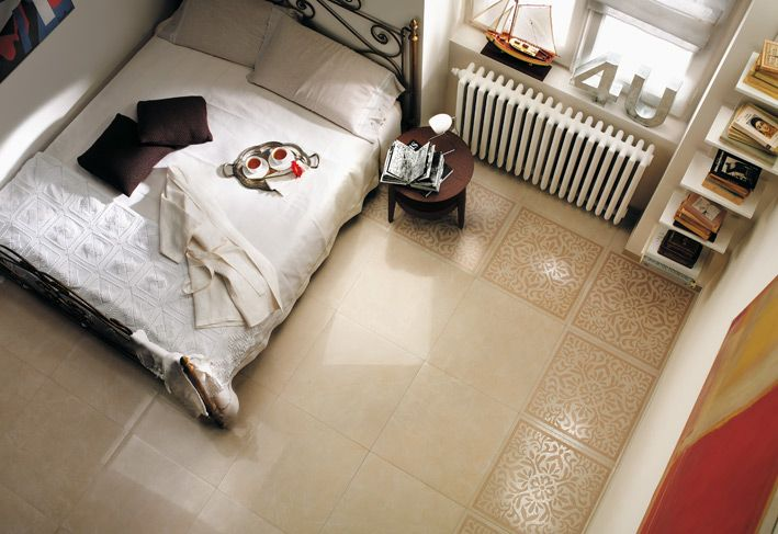 cream white bedroom floor tile border