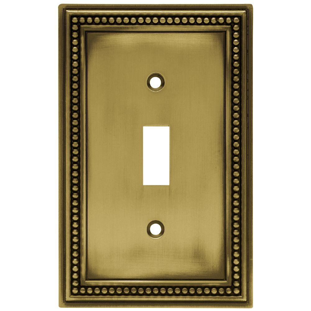 Hampton Bay Beaded Decorative Single Switch Plate, Tumbled