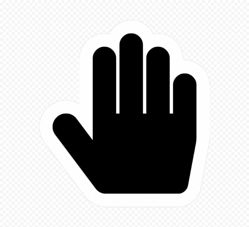 Hd Stop Hand Outline Black And White Silhouette Icon Symbol Png Hand Outline Black And White Icon