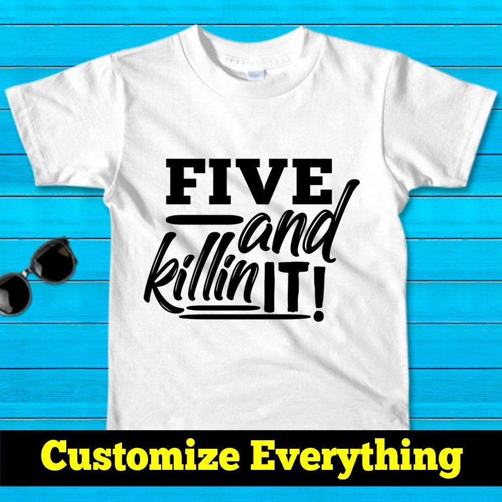 1e6170de9 Five and killin it,5th Birthday Shirt Boy,Five Year Old Birthday Gift,personalized  shirt,Change any age and color,5 Year old birthday boy