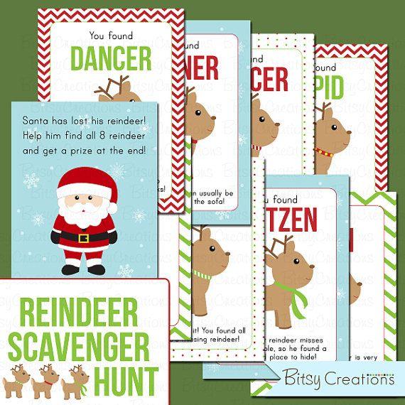 Christmas Gift Scavenger Hunt Riddles: Printable Reindeer Scavenger Hunt PDF Instant Download
