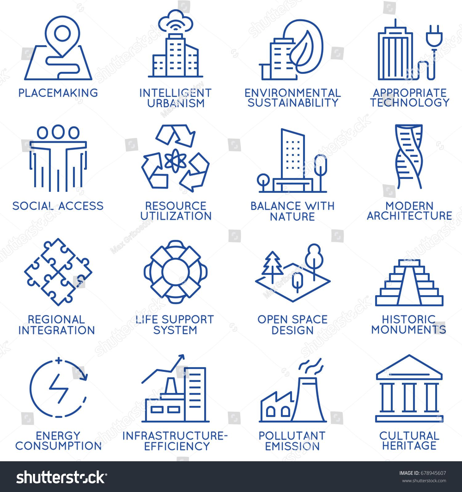 Vector Set Of Thin Linear 16 Icons Related To Technology For Intelligent Urbanism Smart City And Urban Development Mon Smart City City Logos Design City Icon