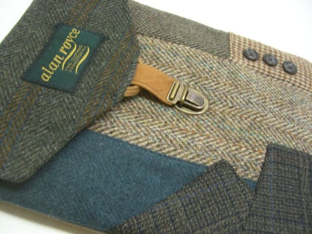 iPad case vintage  green  teal  Eco Friendly  Recycled suit coat. $48.00, via Etsy.