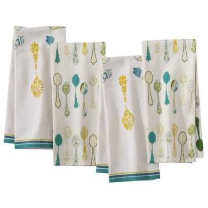 Threshold™ Spoon Kitchen Towel Set Of 4   Shell/Teal :kitchen Colors