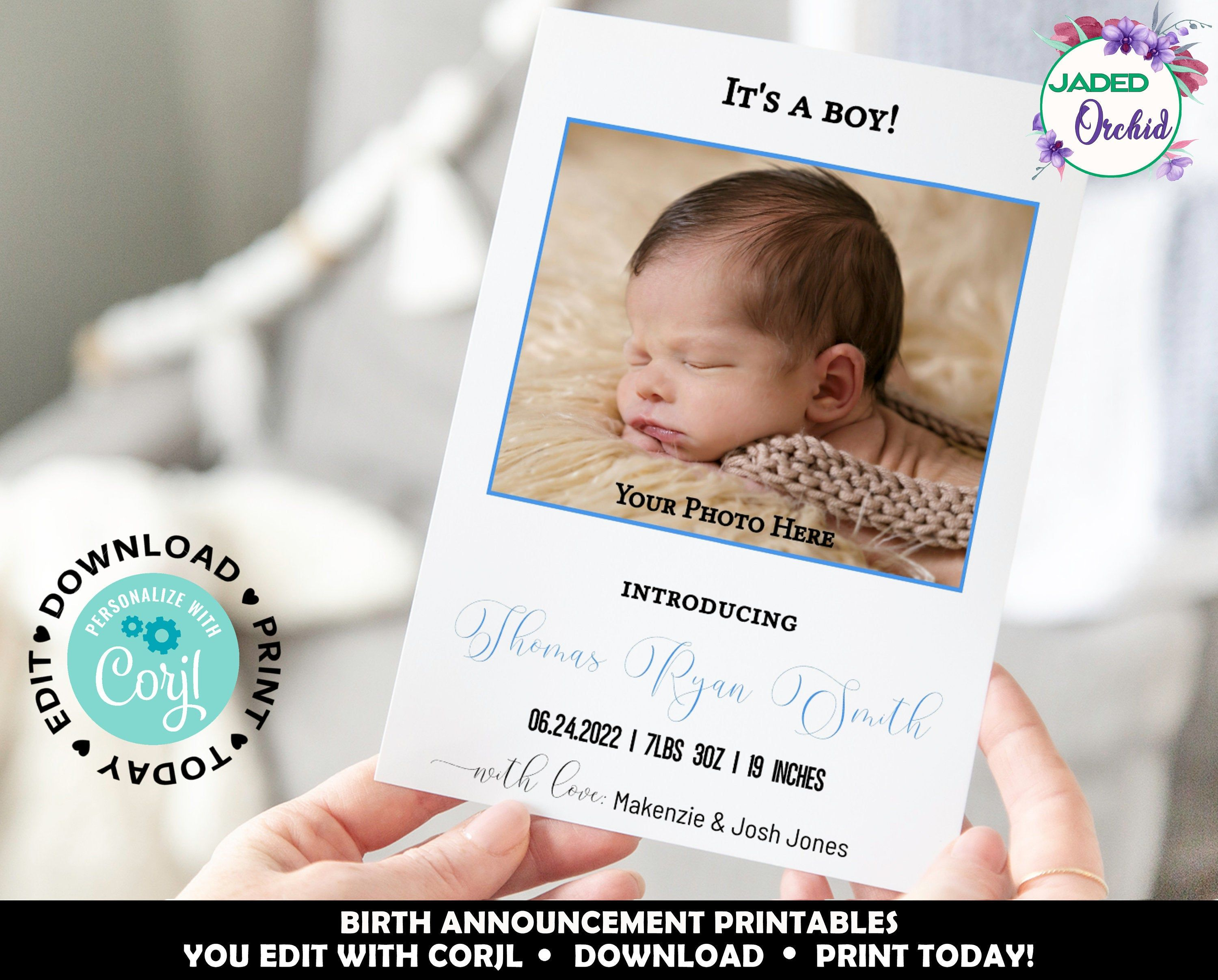 Birth Announcement Template It S A Boy Birth Announcement Editable Baby B Baby Boy Announcement Cards Newborn Birth Announcements Birth Announcement Template