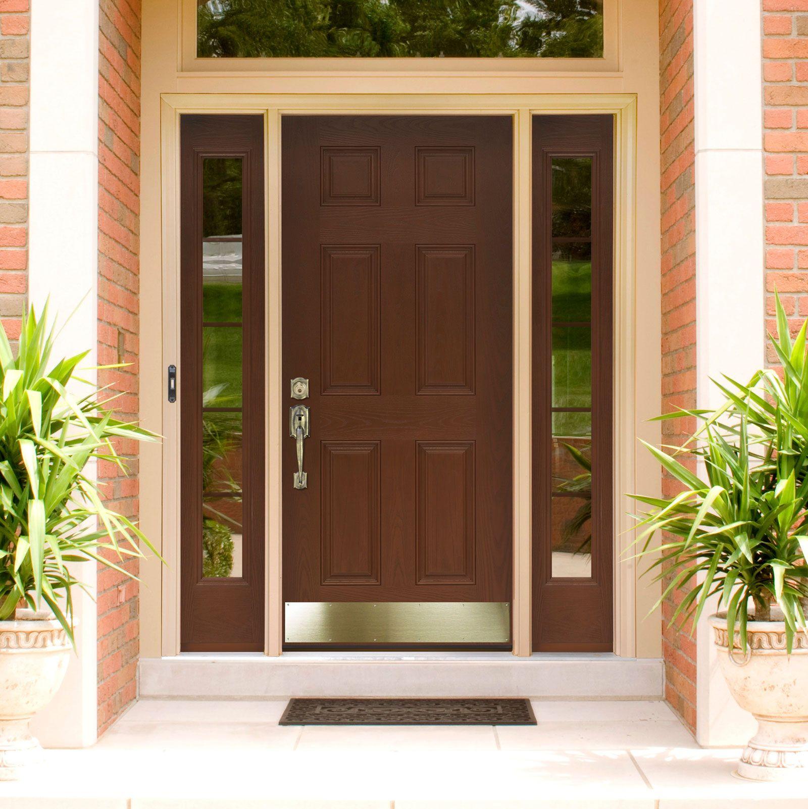Exciting Modern Front Door Ideas In Dark Brown Color With Door Lever ...