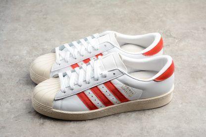 8f9b543647f6 Mens adidas Originals Superstar OG White Red Shoes CQ2477 Outlet Sale-2
